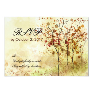 "Watercolor Autumn Wedding RSVP Response Card 3.5"" X 5"" Invitation Card"