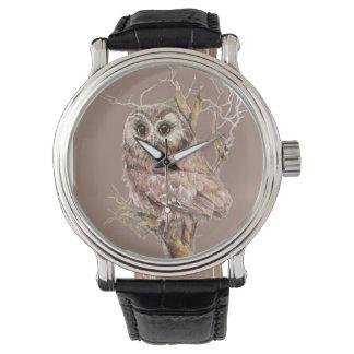 Watercolor Baby Saw Whet Owl in Tree Bird Art Watch
