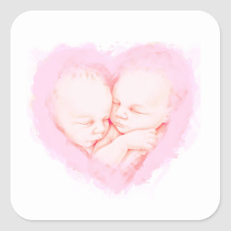 Watercolor Baby Twins Baby shower Maternity Square Sticker