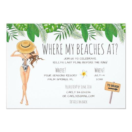 Watercolor Bachelorette Beach Party Invitation