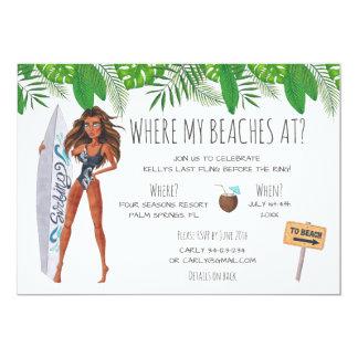 Watercolor Bachelorette Surf Beach Party Card