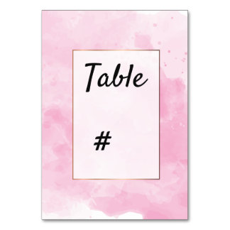 Watercolor background Romantic  table number