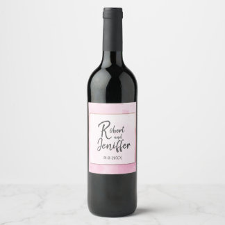 Watercolor background Romantic wedding in pink Wine Label