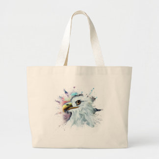 Watercolor Bald Eagle Large Tote Bag