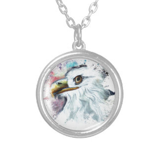 Watercolor Bald Eagle Silver Plated Necklace