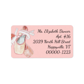Watercolor Ballerina Pink Slippers Return Address