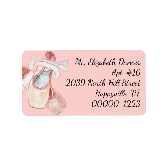 Watercolor Ballerina Pink Slippers Return Address Label