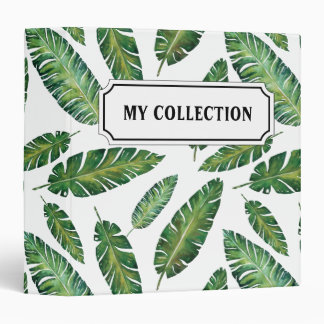 Watercolor banana leaves tropical summer pattern binders