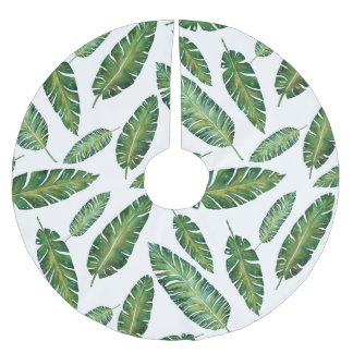 Watercolor banana leaves tropical summer pattern brushed polyester tree skirt