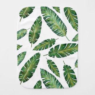 Watercolor banana leaves tropical summer pattern burp cloth