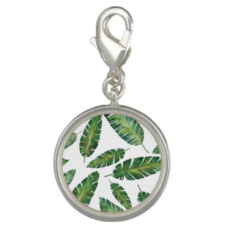 Watercolor banana leaves tropical summer pattern charm