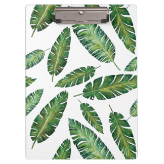 Watercolor banana leaves tropical summer pattern clipboard