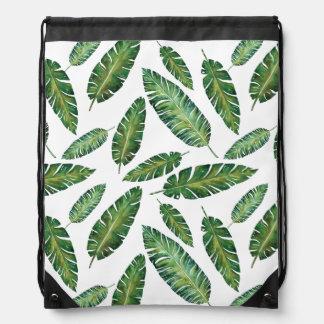 Watercolor banana leaves tropical summer pattern drawstring bag