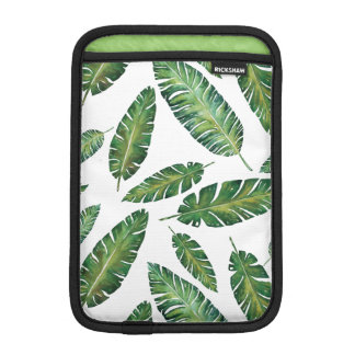Watercolor banana leaves tropical summer pattern iPad mini sleeve