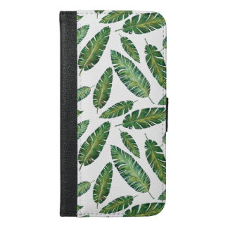 Watercolor banana leaves tropical summer pattern iPhone 6/6s plus wallet case
