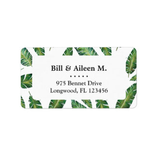Watercolor banana leaves tropical summer pattern label