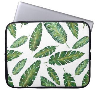 Watercolor banana leaves tropical summer pattern laptop sleeve