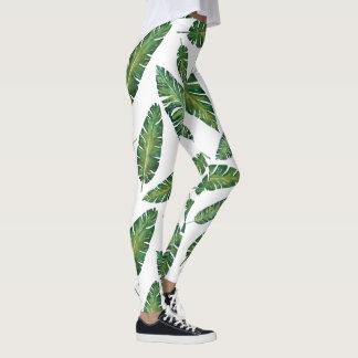 Watercolor banana leaves tropical summer pattern leggings