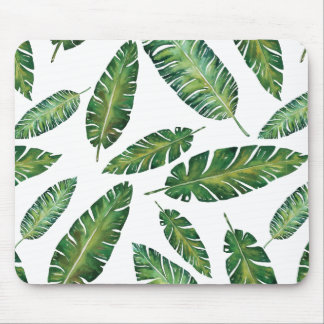 Watercolor banana leaves tropical summer pattern mouse pad