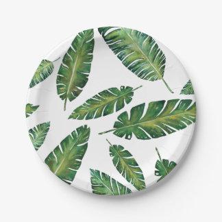 Watercolor banana leaves tropical summer pattern paper plate