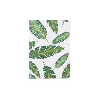 Watercolor banana leaves tropical summer pattern passport holder
