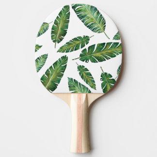 Watercolor banana leaves tropical summer pattern ping pong paddle