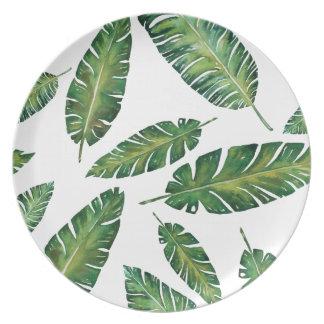 Watercolor banana leaves tropical summer pattern plate