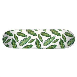Watercolor banana leaves tropical summer pattern skateboard