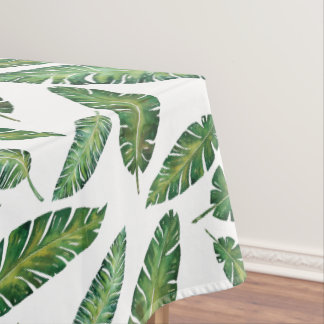 Watercolor banana leaves tropical summer pattern tablecloth