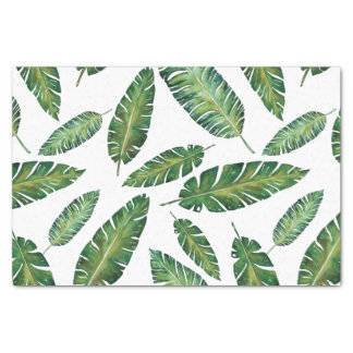 Watercolor banana leaves tropical summer pattern tissue paper