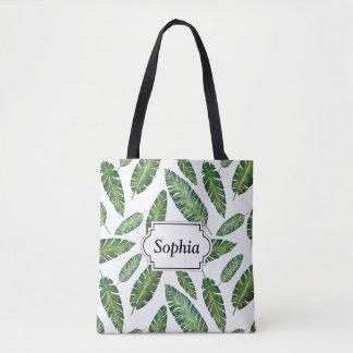Watercolor banana leaves tropical summer pattern tote bag