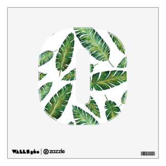 Watercolor banana leaves tropical summer pattern wall sticker