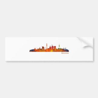 Watercolor Barcelona skyline v01 Bumper Sticker