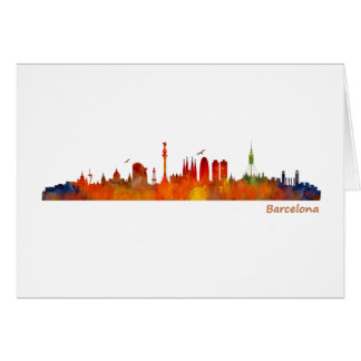 Watercolor Barcelona skyline v01 Card