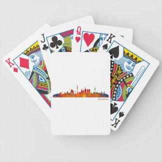 Watercolor Barcelona skyline v01 Poker Deck