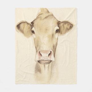 Watercolor Barn Animals | Cow Fleece Blanket