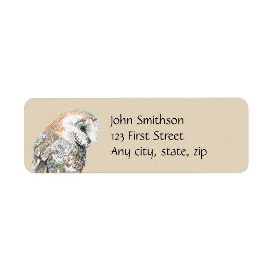 Watercolor Barn Owl Bird  Custom Nature Address
