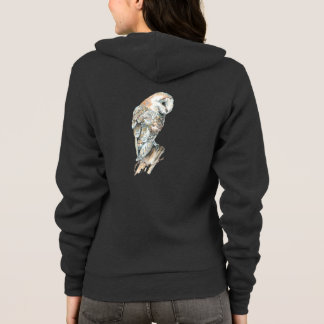 Watercolor Barn Owl Bird Nature Art Hoodie