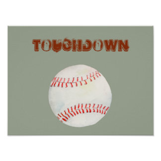 "Watercolor baseball ""touchdown poster"