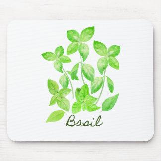 Watercolor basil illustration mouse pad