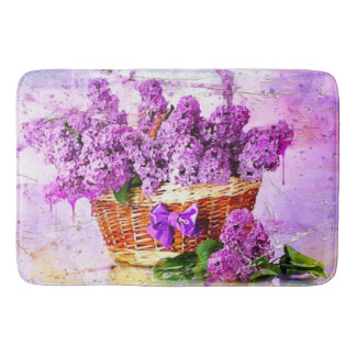 Watercolor Basket of Purple Flowers Bath Mat