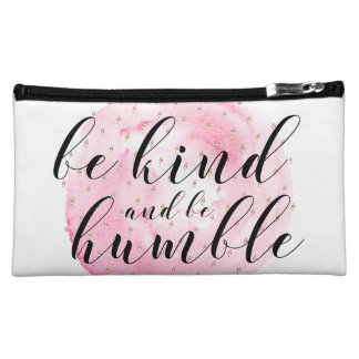 Watercolor Be Kind and Be Humble Quote Makeup Bag