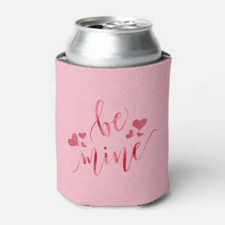 Watercolor Be Mine Valentine's Day Can Cooler