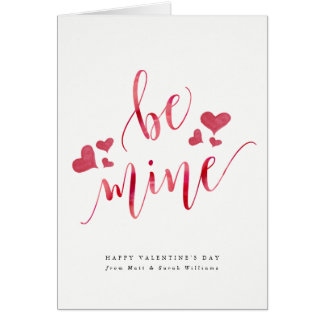 Watercolor Be Mine Valentine's Day Card