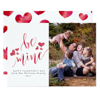 Watercolor Be Mine Valentine's Day Photo Cards