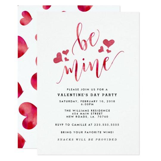 Watercolor Be Mine Valentine's Party Invitations