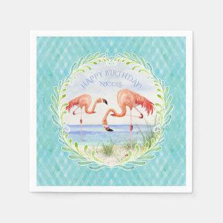 Watercolor Beach Flamingo Happy Birthday Party Disposable Napkins