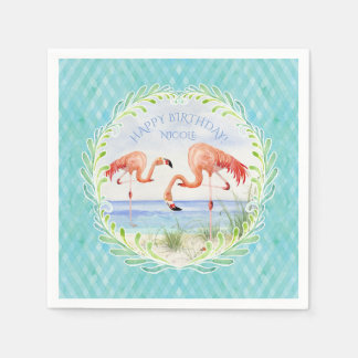 Watercolor Beach Flamingo Happy Birthday Party Paper Napkin