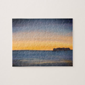 Watercolor Beach Island Sunrise Jigsaw Puzzle