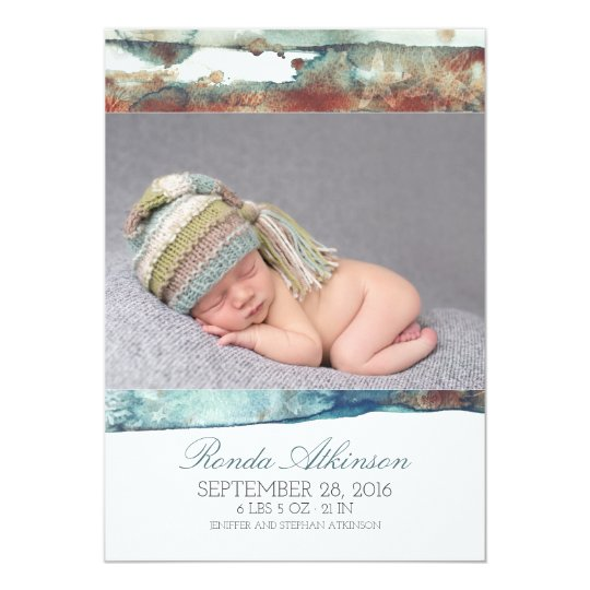 Watercolor Beach Newborn Baby Photo Birth Card
